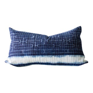 "Indigo Batik Hmong Hemp Pillow Cover - 20"" x 12"""