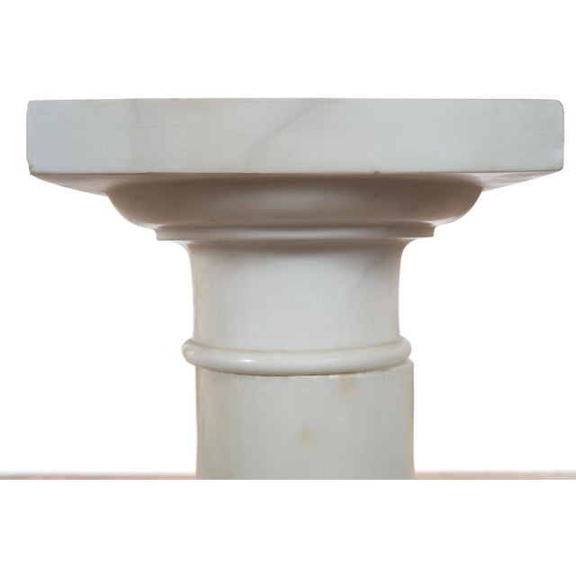 19th C. Italian Carrara Marble Carved Pillar Stand - Image 4 of 10