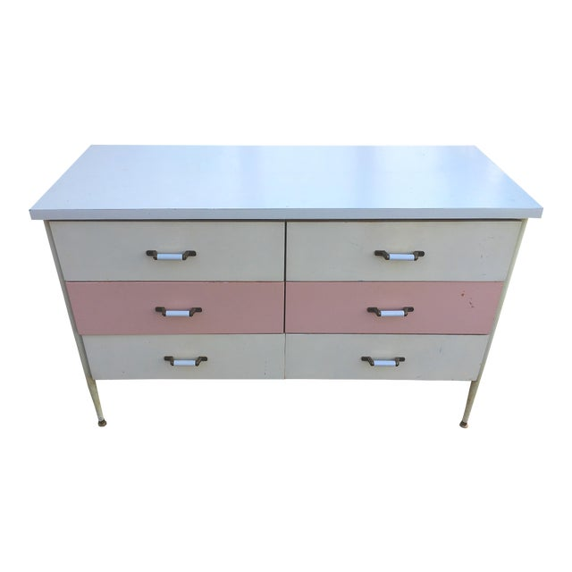 1950s Vista of California Pink & White Metal Dresser - Image 1 of 6