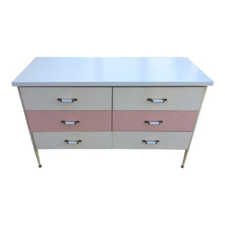 1950s Vista of California Pink & White Metal Dresser