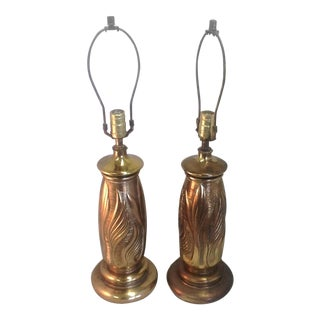 Vintage Botanical Brass Table Lamps - a Pair