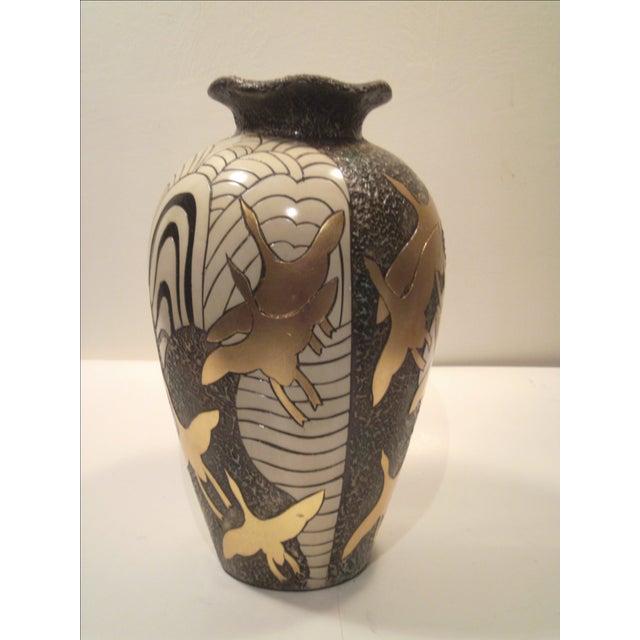 Large Alexander Kalifano Gold & Silver Leaf Vase - Image 3 of 10