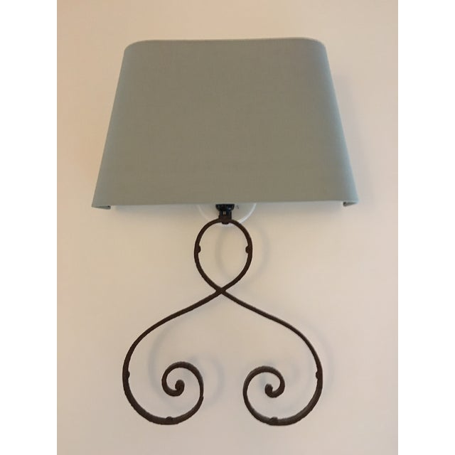 Iron Sconces with Shades - A Pair - Image 2 of 3
