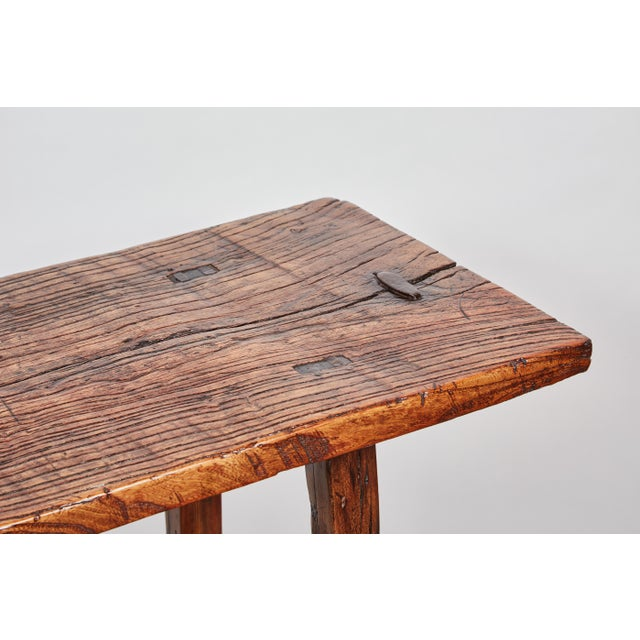 Image of Early 19th Century Chinese Simple Side Table with a Long Single Hand of Deep Brown Elm Wood