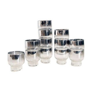 4 Ounce Tipped Silver Ombre Barware - Set of 12