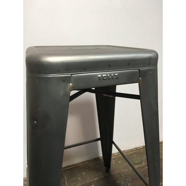 Tolix marais custom leather seat pad barstool chairish - Tolix marais counter stool ...