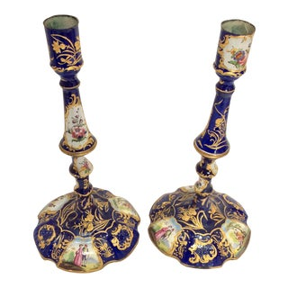 English Enamel Candlesticks - A Pair