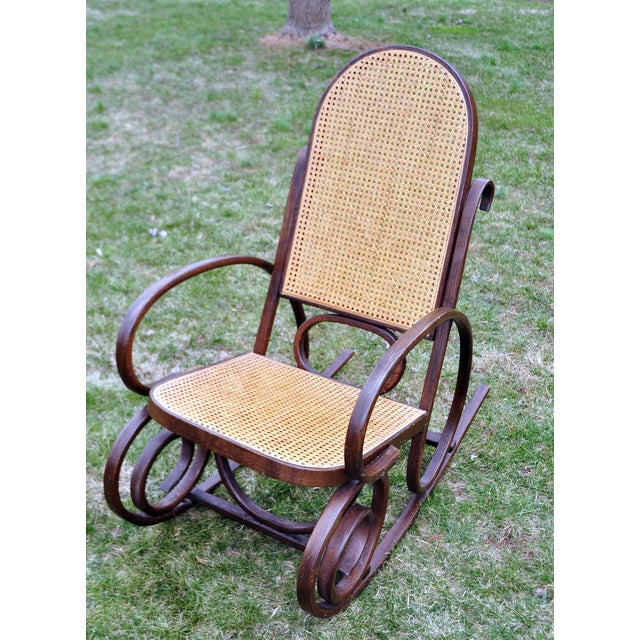 vintage thonet style bentwood rocking chair chairish. Black Bedroom Furniture Sets. Home Design Ideas