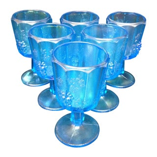 Blue Iridescent Carnival Glass Cordials - Set of 6