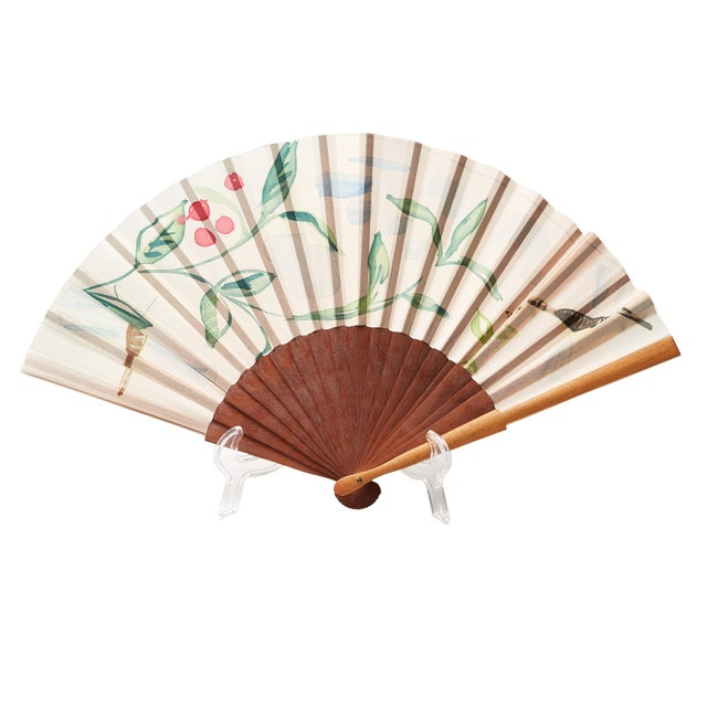 Image of Spanish Floral Paper & Wood Fan
