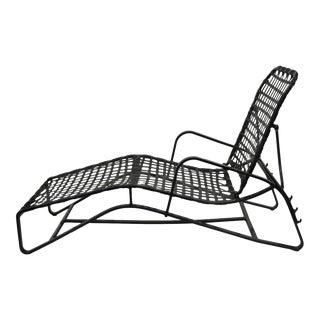 Brown Jordan Lido Aluminum Vinyl Strap Patio Pool Chaise Lounge Chair Black A