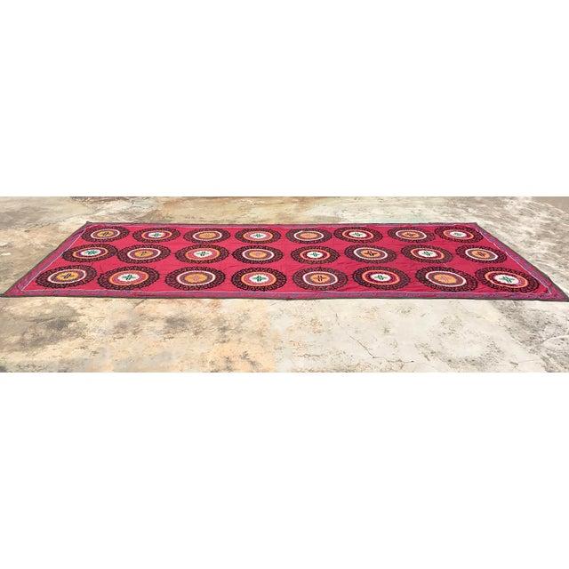 Oversized Vintage Suzani Tapestry - 14.8 x 6' - Image 4 of 6