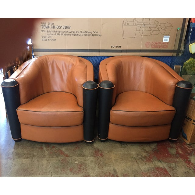 Butterscotch Leather Deco Chairs - Pair - Image 2 of 5
