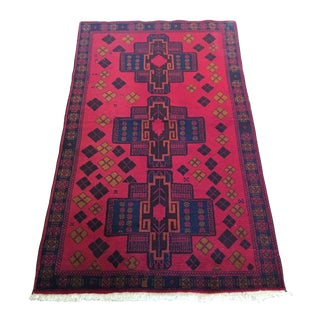 Vintage Balouch Hand Knotted Wool Rug - 3′7″ × 6′2″