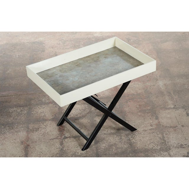 Image of Mid Century Modern Shagreen Folding Tray Table