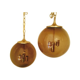 Vintage 1960s Smoked Glass Pendants - A Pair