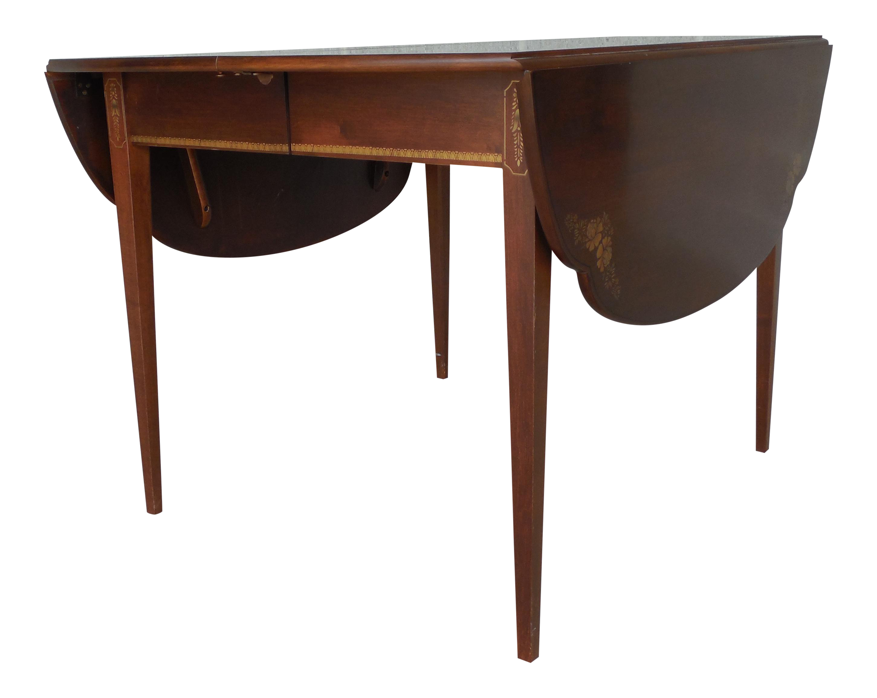 L. Hitchcock Black/Cherry Cloverleaf Dining Extension Table