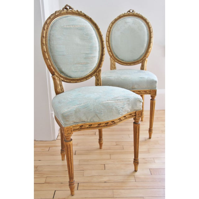 Image of Vintage Louis XVI Style Giltwood Chairs - a Pair