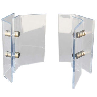 Attributed to Karl Springer Lucite & Brass Pedestal Table Bases- A Pair