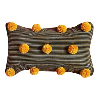 Black Lurik Striped Pillow With Gold Pom-Poms