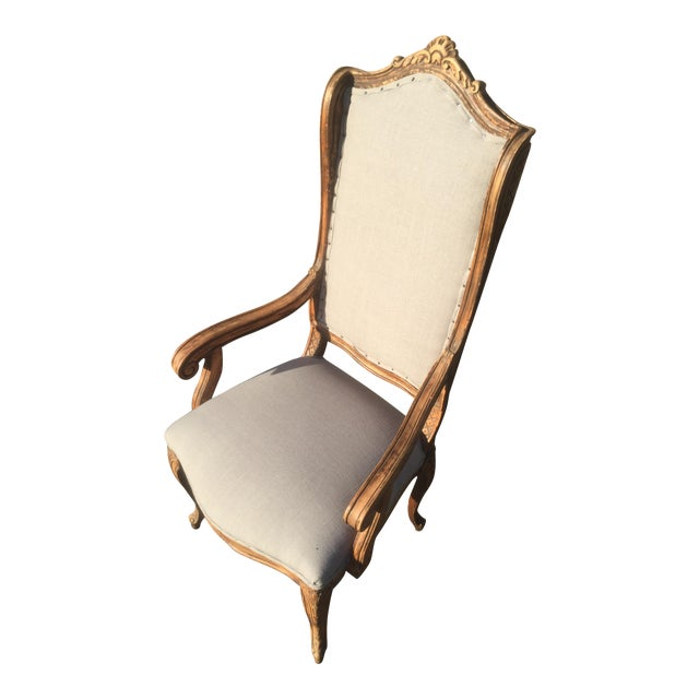 Distressed French Provincial Nailhead Trim Armchair - Image 1 of 5