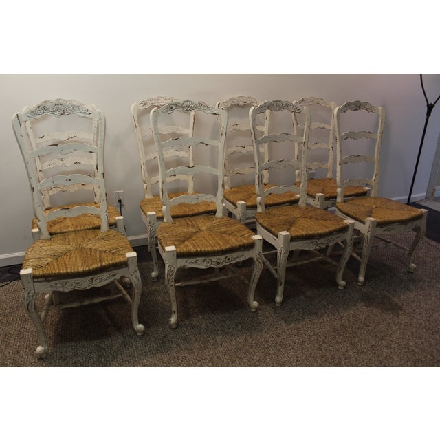 Country French Rush Seat Side Chairs - Set of 8 - Image 4 of 9