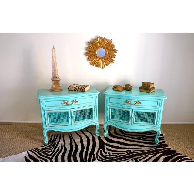 French Style Turquoise Nightstands - Pair - Image 3 of 10