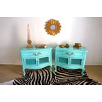 Image of French Style Turquoise Nightstands - Pair