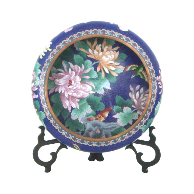 Large blue cloisonn 39 flower bowl 39 and stand chairish for Cloison stand