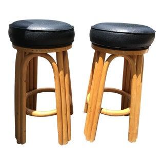 Bamboo Swivel Bar Stools - A Pair