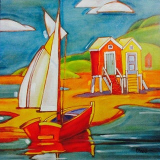 Coastal Beach Huts, Painting on Wood