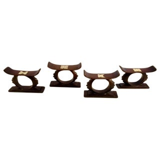 Asian Inspired Wood & Inlaid Pearl Napkin Rings - Set of 4