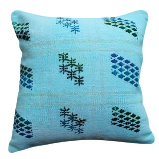 Blue Pillow Turkish Pillow Overdyed