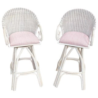 Swiveling Rattan Bar Stools- A Pair