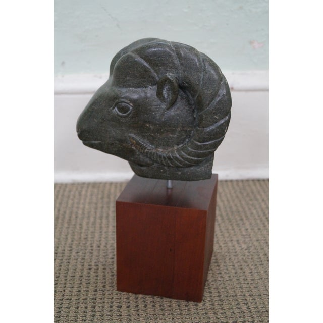 Image of Mid-Century Marble Ram Head Sculpture & Teak Base