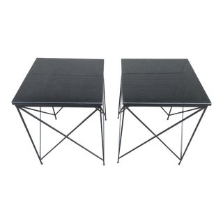 Black Marble Top Side Tables - A Pair