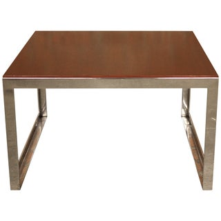 Knoll Chrome & Wood Side Table
