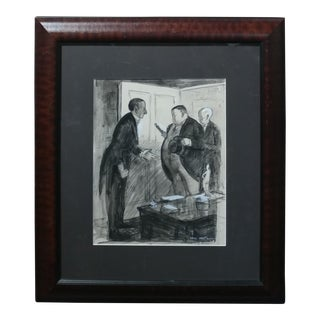 Carl Hugo Beetz -Gallery Back Room- original 1938 Mix Media Painting