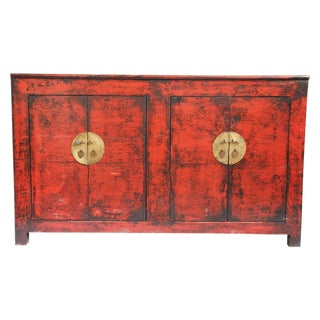 Mongolian Red Lacquer Cabinet