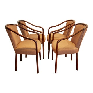 Walnut Bentwood Chairs Upholstered in Pink Wool - Set of 4