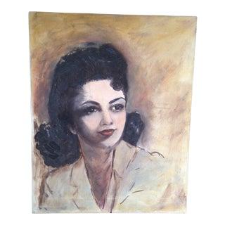 Vintage Mid Century Young Woman Oil Portrait