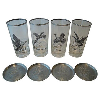Silver Rim Game Bird Glasses & Coasters - Set of 8