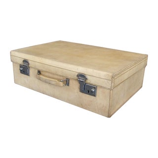 Antique 1920 Cream Vellum Suitcase