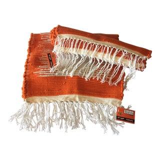 Orange & White Throw Rugs- A Pair