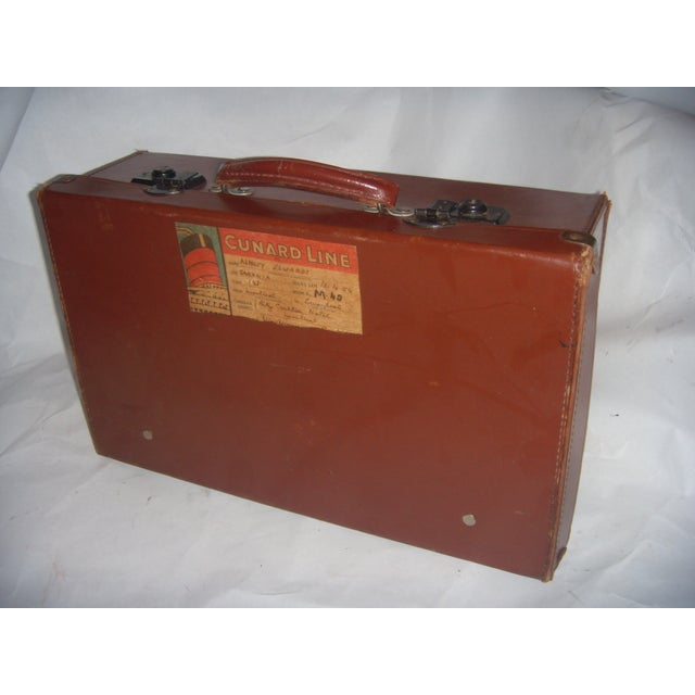 Image of Vintage English Brown Leather Suitcase