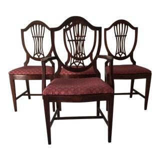Vintage Sheraton Shield-Back Flame Mahogany Dining Chairs - Set of 4