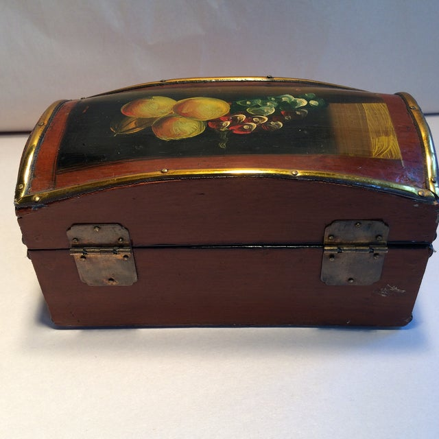 Vintage Hand Painted Fruit Motif Wooden Box - Image 5 of 11