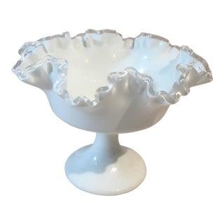Fenton Silver Crest Milk Glass Compote