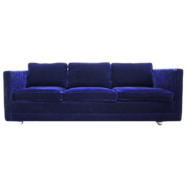 Ward Bennett Sofa in Navy Blue Mohair by Brickell - Image 1 of 7