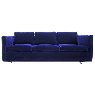 Ward Bennett Sofa in Navy Blue Mohair by Brickell